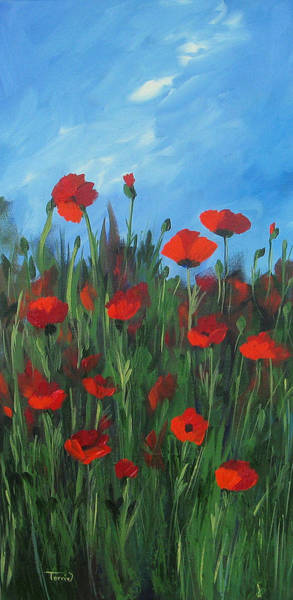 Flower Wall Art - Painting - The Poppy Field by Torrie Smiley