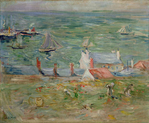 Coast Line Painting - The Port Of Gorey On Jersey by Berthe Morisot