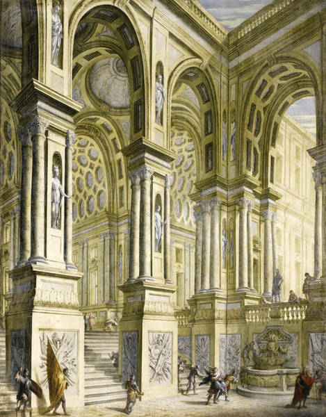Portico Painting - The Portico And Staircase Of A Palace With Soldiers And A Woman Being Carried Off On Horseback by Giuseppe Galli Bibiena