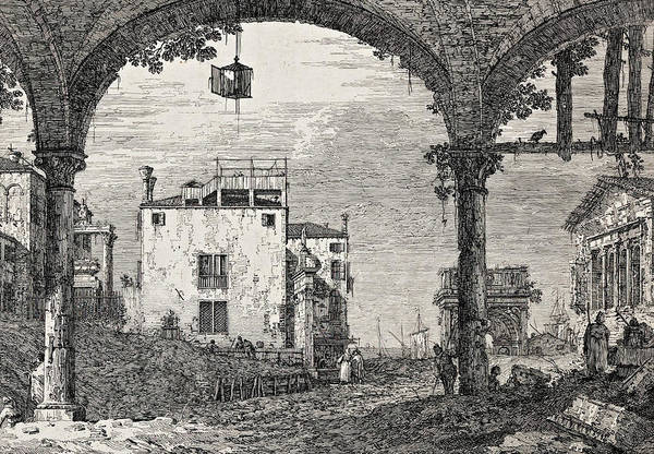 Relief - The Portico With A Lantern by Canaletto