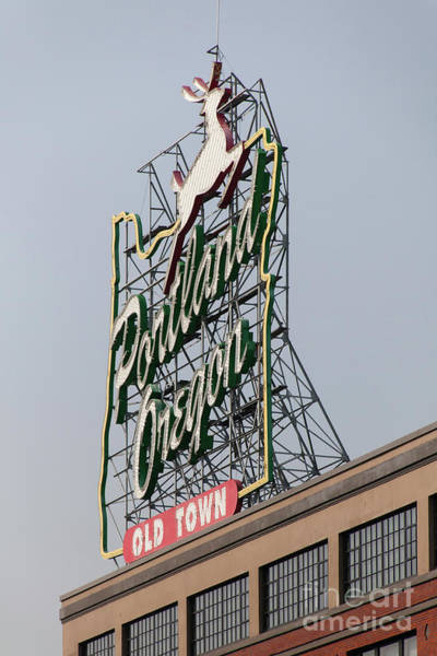 Photograph - The Portland Oregon Sign Aka The White Stag Sign In Portland Oregon 5d3417 by Wingsdomain Art and Photography