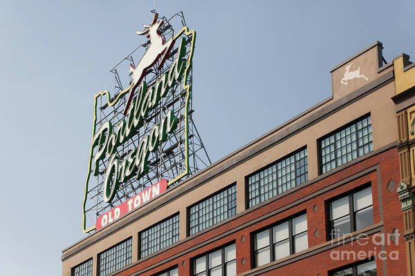 Photograph - The Portland Oregon Sign Aka The White Stag Sign In Portland Oregon 5d3420 by Wingsdomain Art and Photography