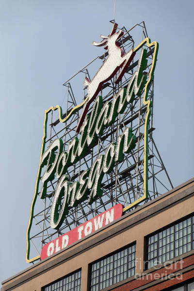 Photograph - The Portland Oregon Sign Aka The White Stag Sign In Portland Oregon 5d3421 by Wingsdomain Art and Photography