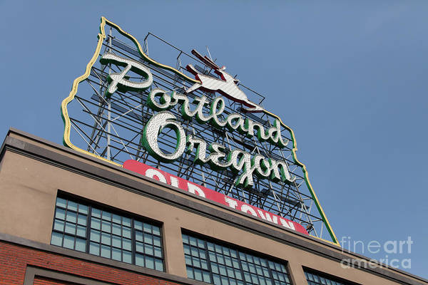 Photograph - The Portland Oregon Sign Aka The White Stag Sign In Portland Oregon 5d3425 by Wingsdomain Art and Photography