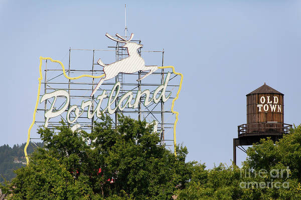 Photograph - The Portland Oregon Sign Aka The White Stag Sign In Portland Oregon 5d3429 by Wingsdomain Art and Photography
