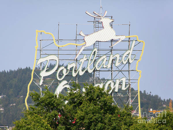 Burnside Bridge Photograph - The Portland Oregon Sign Aka The White Stag Sign In Portland Oregon 5d3432 by Wingsdomain Art and Photography