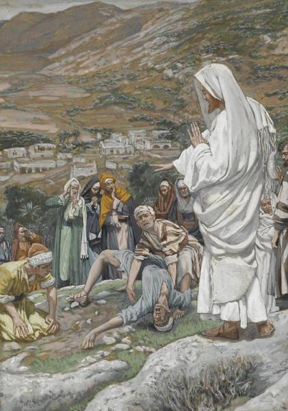 Wall Art - Painting - The Possessed Boy At The Foot Of Mount Tabor by Tissot