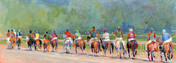 Race Horse Wall Art - Painting - The Post Parade by Kimberly Santini