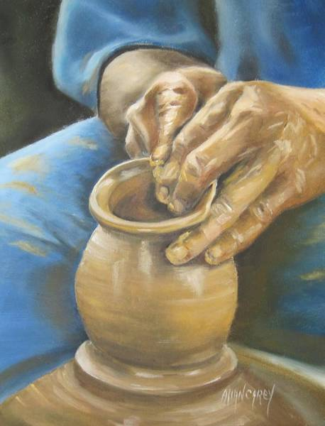 Potters Wheel Wall Art - Painting - The Potter by Allan Carey