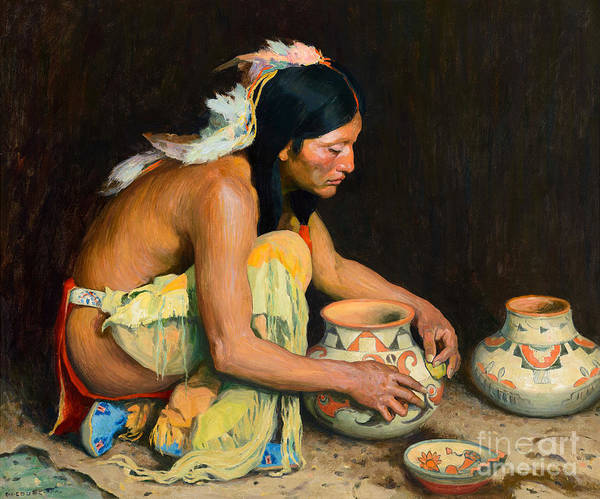 Painting - The Pottery Maker by Celestial Images