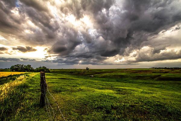 Nebraska Landscape Photograph - The Prairie - Golden Sunlight Drenches Nebraska Landscape by Southern Plains Photography