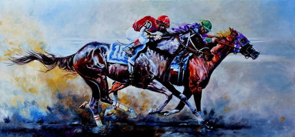 Thoroughbred Racing Wall Art - Painting - The Preakness Stakes by Hanne Lore Koehler