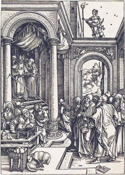 Drawing -  The Presentation Of The Virgin In The Temple by Albrecht Durer