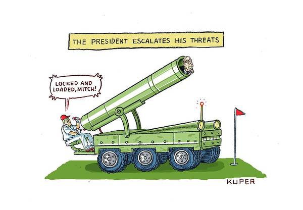 Threat Drawing - The President Escalates His Threats by Peter Kuper