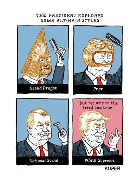 Hair Drawing - The President Explores Some Alt-hair Styles by Peter Kuper