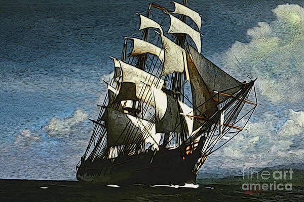 Wall Art - Digital Art - The Privateer Off Tortuga by Anthony Forster