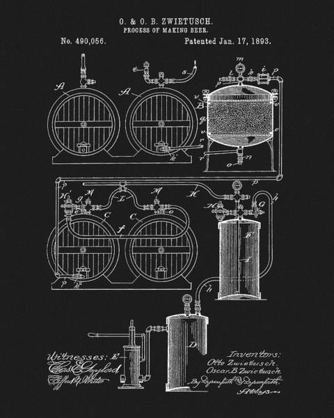Drawing - The Process Of Making Beer 1893 by Dan Sproul