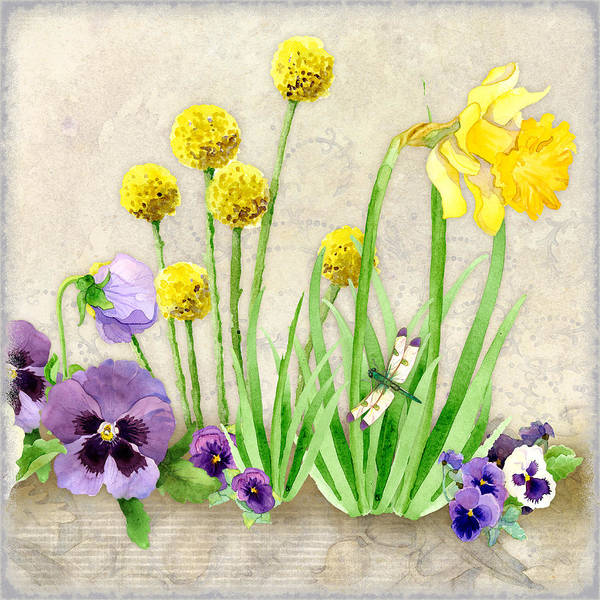 Daffodils Wall Art - Painting - The Promise Of Spring - Dragonfly by Audrey Jeanne Roberts