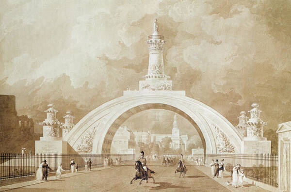 Georgian Drawing - The Proposed Triumphal Arch From Portland Place To Regent's Park by John Martin