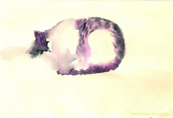 Painting - The Purple Fat Cat by Asha Sudhaker Shenoy