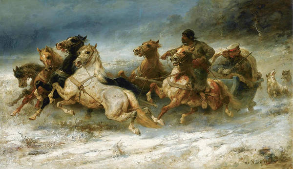 Wall Art - Painting - The Pursuit by Adolf Schreyer