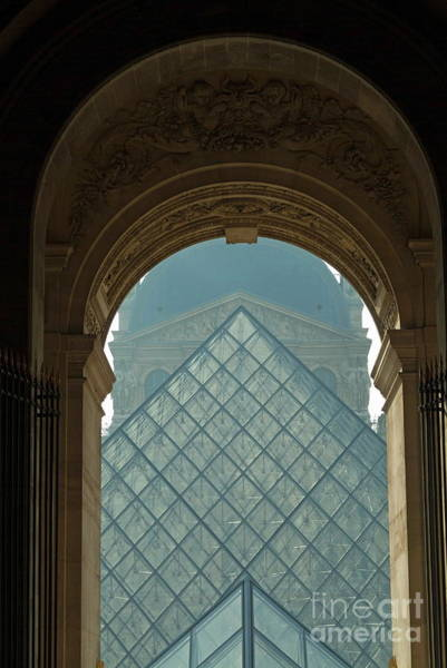 Wall Art - Photograph - The Pyramid Of The Musee Du Louvre Seen Through An Arched Window by Sami Sarkis