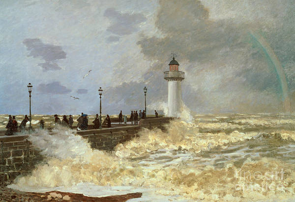 Wave Breaking Painting - The Quay At Le Havre by Claude Monet