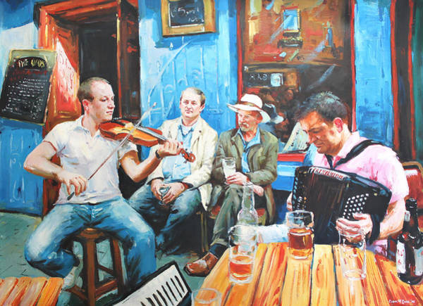 Ireland Painting - The Quay Players by Conor McGuire