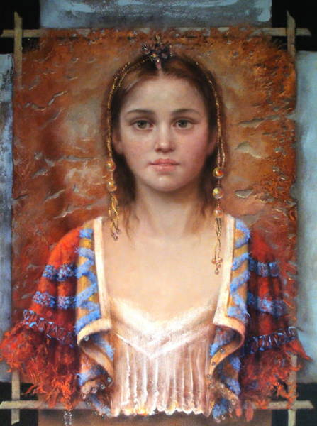 Wall Art - Painting - The Quiet Girl by Loretta Fasan