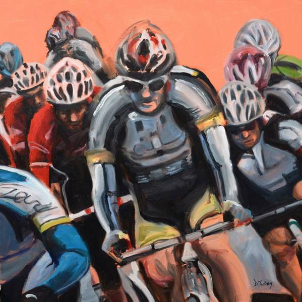 Cycling Helmet Painting - The Race by Donna Tuten