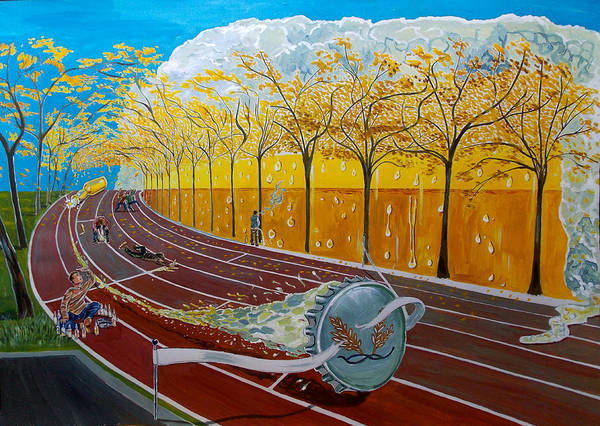 Wall Art - Painting - The Race Of Tumbles by Lazaro Hurtado