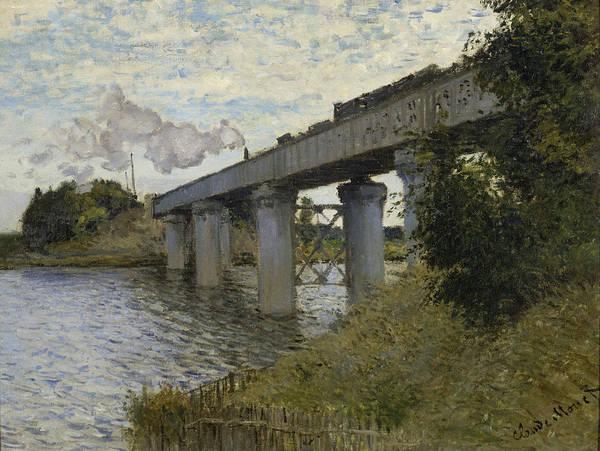 Vintage Railroad Painting - The Railroad Bridge In Argenteuil 1873 - 1874 by Claude Monet