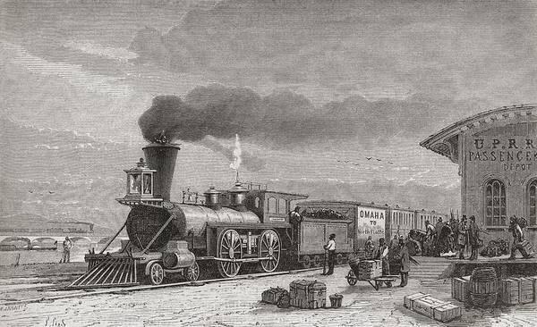 Railroad Station Drawing - The Railway Station At Omaha, Nebraska by Vintage Design Pics