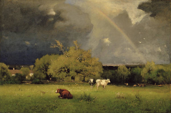 Stormy Sky Painting - The Rainbow by George Inness Senior