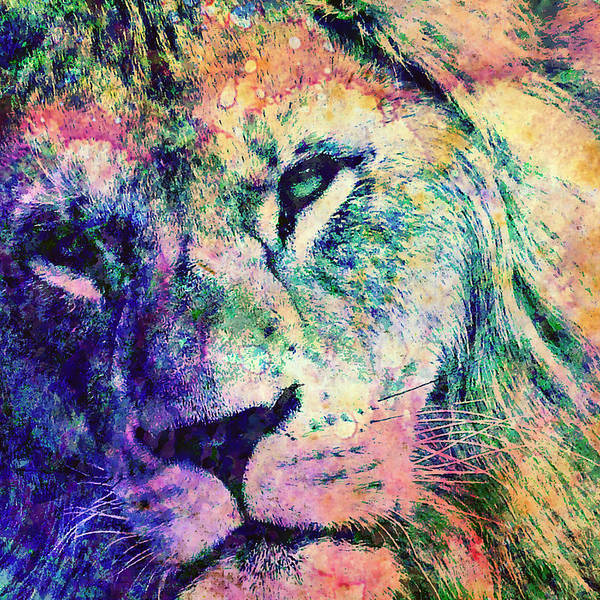 Black Panther Mixed Media - The Rainbow Lion by Stacey Chiew