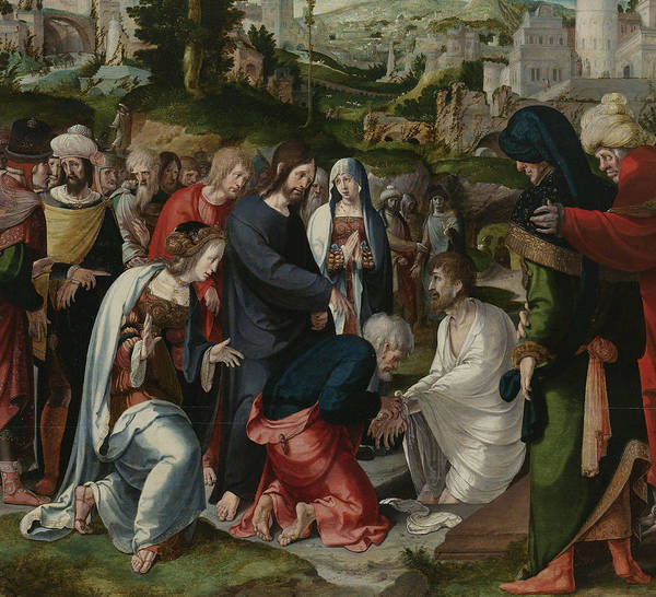 Raising Wall Art - Painting - The Raising Of Lazarus by Aertgen Claesz van Leyden