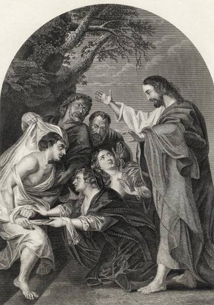 Miracle Drawing - The Raising Of Lazarus Engraved By S by Vintage Design Pics