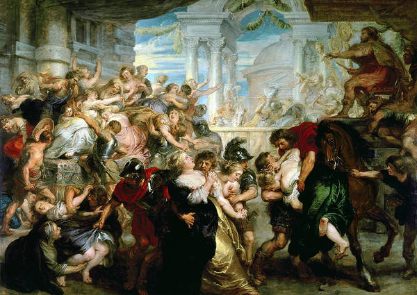 Settlers Painting - The Rape Of The Sabine Women by Peter Paul Rubens
