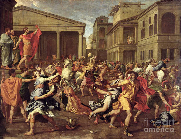 1665 Wall Art - Painting - The Rape Of The Sabines by Nicolas Poussin