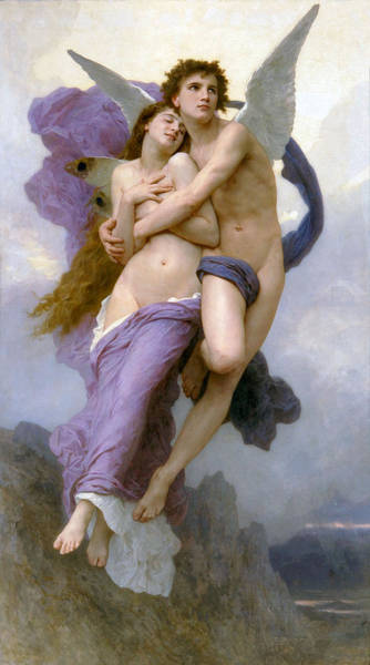 Painting - The Rapture Of Psyche 1895 by William Bouguereau Presented by Joy of Life Art