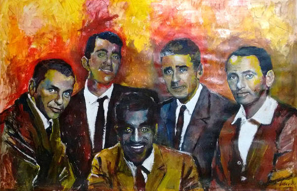 Cesar Wall Art - Painting - The Rat Pack - Sinatra, Martin, Davis Jr, Lawford, Bishop by Marcelo Neira