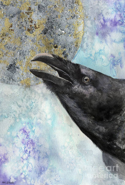 Wiccan Painting - Raven And The Moon 2017 03 09 by Angel Ciesniarska