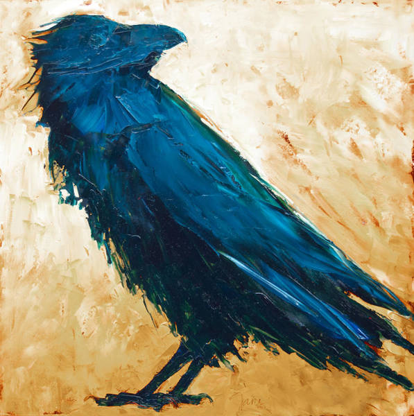 Painting - The Raven - Neutral Background by Jani Freimann