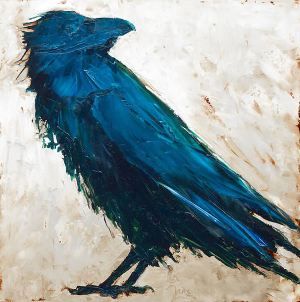 Painting - The Raven - White Background by Jani Freimann