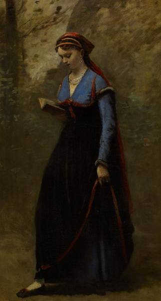 Camille Wall Art - Painting - The Reader by Jean Baptiste Camille Corot