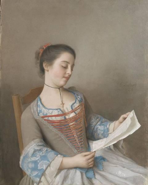 Jean Etienne Liotard Wall Art - Painting - The Reader Marianne Lavergne, Een Van De Kunstenaar Nicht, In Lyonese Plattelandskleding, Jean-e by Celestial Images