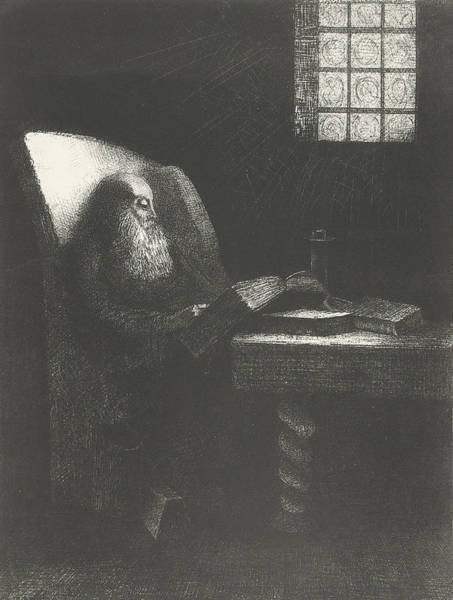 Wall Art - Drawing - The Reader by Odilon Redon
