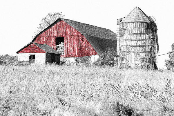 Photograph - The Red Barn - Sketch 0004 by Ericamaxine Price