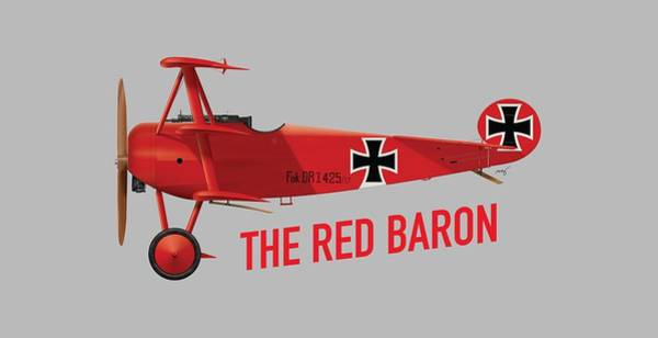 World War 1 Digital Art - The Red Baron's Fokker Dr.1 - Side Print by Ed Jackson