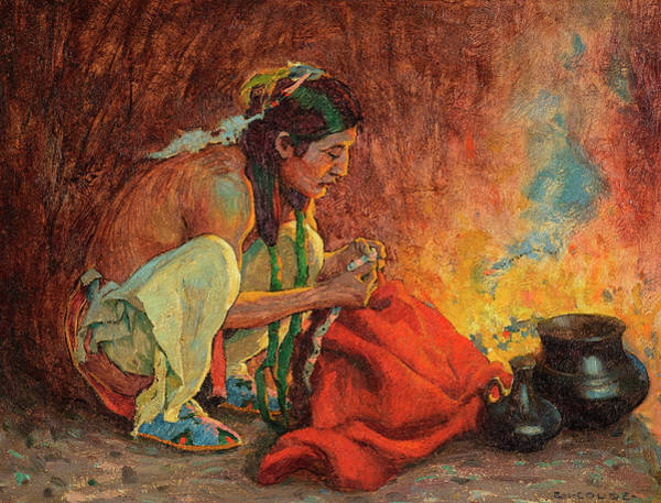 Blanket Painting - The Red Blanket by Eanger Irving Couse